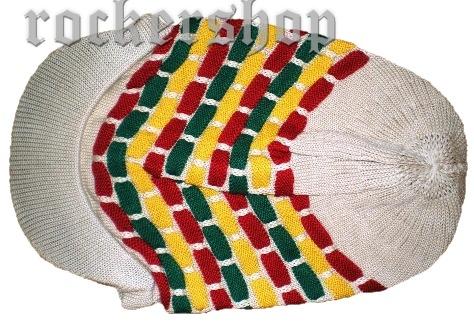 53c1f4be37a0 Rasta baret predĺžený so šiltom-béžový z ROCKERshopu